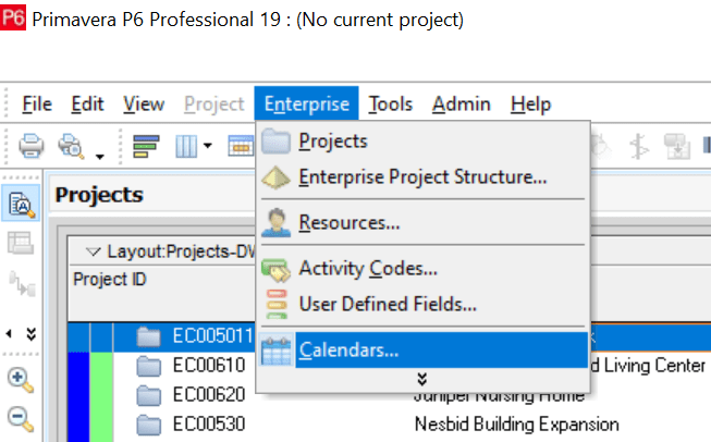 Create Project Calendar